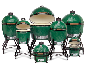 Image of a set of Big Green Egg grills in a variety of sizes.