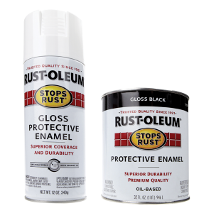 Rust-Oleum gloss protective enamel spray and paint.