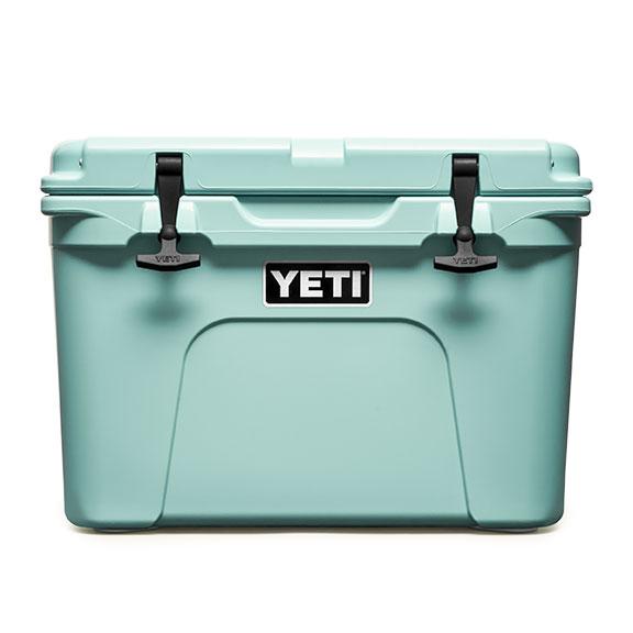 A seafoam green Yeti cooler