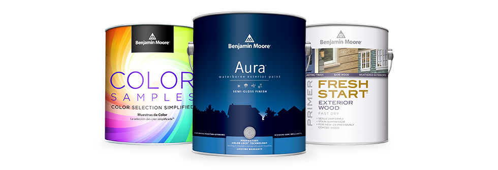 Benjamin Moore Aura Semi Gloss Paint, Color Samples Paint, and Fresh Start Primer Cans